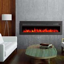 GMHome 40″ Wall Recessed Electric Fireplace 9 Changeable Color, w/Remote, 1500/750W, Metal ...