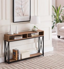 Vintage Brown Top/Black Metal X-Design Frame 2-tier Sofa Console Table with Two Storage Compartments