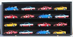 NASCAR Diecast Model Car Display Case Hot Wheels Wall Curio Cabinet Holds 16 Cars 1/24 Scale, wi ...