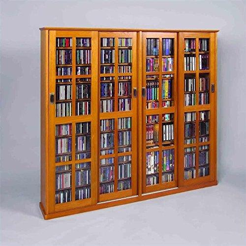 LDE LESLIE DAME Leslie Dame MS-1400 Mission Style Multimedia Storage Cabinet with Sliding Glass  ...