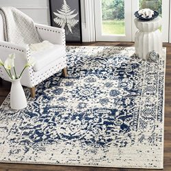 Safavieh Madison Collection MAD603D Cream and Navy Distressed Medallion Area Rug (5′ Square)