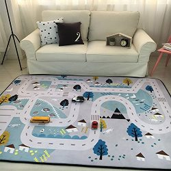 MAXYOYO Play Mat for Baby Grey Area Rug Foam Play Mat Living Room Floor Mats Baby Crawling Mats  ...