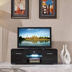 SUNCOO TV Stand Media Console Cabinet LED Shelves with 2 Drawers for Living Room Storage High Gl ...