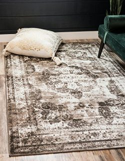 Unique Loom Sofia Collection Traditional Vintage Light Brown Home Décor Area Rug (9′ x 12& ...