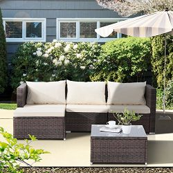 Uenjoy 5PC Outdoor Rattan Wicker Patio Furniture Set Cushioned Sofa & Table Garden Lawn Brown
