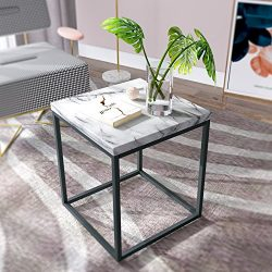 Roomfitters White Marble Print End Table/Side Table/Night Stand, Upgrade Version with Metal Fram ...