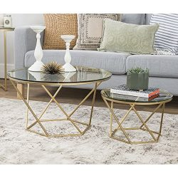 WE Furniture Geometric Glass Nesting Coffee Tables – Gold, Glass/Gold