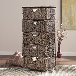 Southern Enterprises AMZ3230ZH Kelsey Seagrass 5-Drawer Storage, Brown