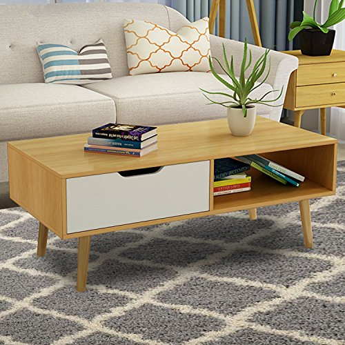 DL furniture- Luxury wood coffee table with 4 strong support legs, 2 shelf storage and rack