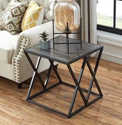 "O&K Furniture 21.7"" Height Industrial End Side Table with Metal Frame for Bedroom & Livi ..."