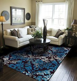 Contemporary Distressed Area Rugs for Living Room 8×10 Blue Large Rugs For Dining Room Clea ...