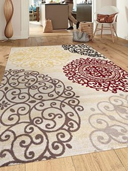 Rugshop Contemporary Modern Floral Indoor Soft Area Rug, 9′ x 12′, Cream