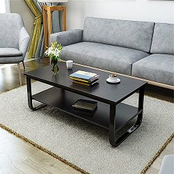 DL furniture- Black Metal frame Luxury coffee table with Smooth surface, 2 tier and stable stand ...