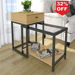 Lifewit 2-piece Side Table Nesting Table Accent Table Set with Drawer, Combination Extension Sli ...