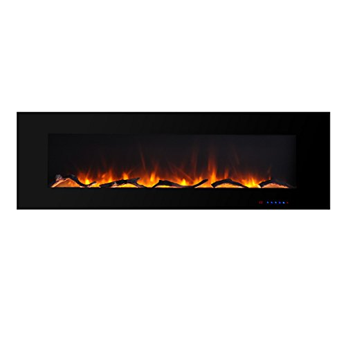 Valuxhome Luxey 60″ 750W/1500W, Wall Mounted Flat Panel Smokeless Electric Fireplace with  ...