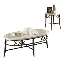 ACME Furniture 83100 Aldric 3 Piece Coffee End Set, Faux Marble