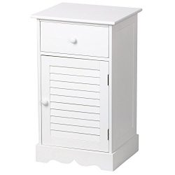 Yaheetech Storage Cabinet End Table Nightstand One Drawer with Slatted Door White