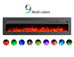 GMHome 50″ Wall Recessed Electric Fireplace 9 Changeable Color, w/Remote, 1500/750W, Metal ...
