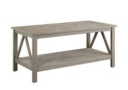 Linon 86151Gry01U Titian RusticCoffee Table, 44″ x 21.97″ x 20″, Gray