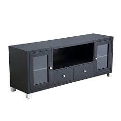 Mixcept 58″ Contemporary 2-door and 2-drawer Wooden TV Media Stand Storage Cabinet Living  ...
