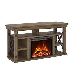 Ameriwood Home 1775096COM Wildwood Fireplace TV Stand, Rustic Gray