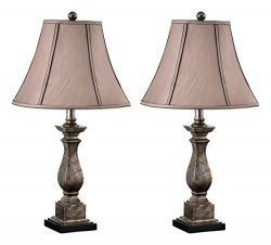 Kings Brand 25″ H Brushed Silver/Brown Fabric Shade Table Lamps, Set Of 2
