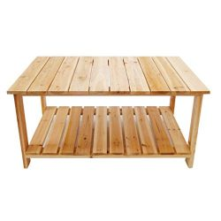 TANGON Outdoor Dining Table Coffee Table with Bottom Shelf | Perfect For Patio | Rustic Natural  ...