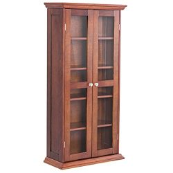 Storage Cabinet Media CD DVD Shelves Tower Glass Doors Wood Walnut 44.5″