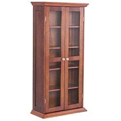 Storage Cabinet Media CD DVD Shelves Tower Glass Doors Wood Walnut 44.5″