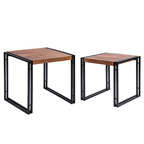 FIVEGIVEN Nesting Tables Set of 2 End tables for Living Room Rustic Industrial Wood and Metal, Brown