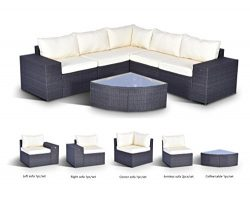 Gotland 6-Piece Set Furniture Sectional Sofa & Glass Coffee Table Washable Beige Cushions Ba ...