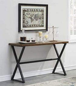 O&K Furniture Rectangular Farmhouse Accent Console Sofa Table X-Legs Living Room, Hallway En ...