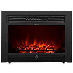 KUPPET YA-300 28.5″ Embedded Electric Fireplace Insert Freestanding Heater with Remote Gla ...