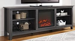 WE Furniture 70″ Wood Media TV Stand Console with Fireplace – Charcoal