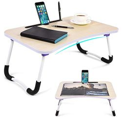 Portable Lap Desk with Tablet & Phone Slots, Foldable Bed Notebook Table with U Legs, Multif ...