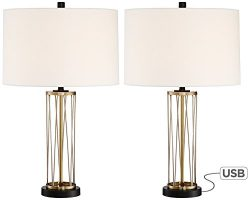 Nathan Gold Table Lamp with USB Set of 2