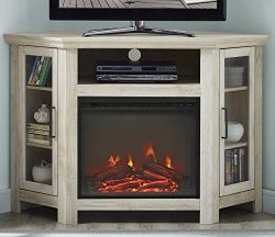 WE Furniture 48″ Wood Corner Fireplace Media TV Stand Console – White Oak