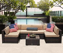 PATIOROMA Outdoor Patio Furniture Set, 7-Piece Sectional Sofa Set All-Weather Brown Wicker Furni ...