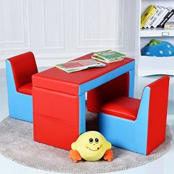 Costzon Kids Sofa, 2-IN-1 Multi-Functional Kids Table & Chair Set, 2 Seat Couch With Storage ...