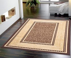 Ottomanson Ottohome Collection Contemporary Bordered Design Non-Skid (Non-Slip) Rubber Backing M ...
