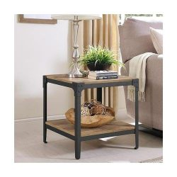 Walker Edison Angle Iron Rustic Wood End Table in Barnwood (Set of 2)
