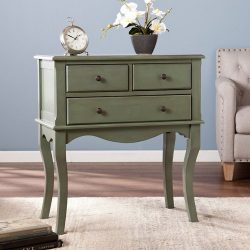 Southern Enterprises Cardamom 3 Drawer Accent Chest in Agate Green