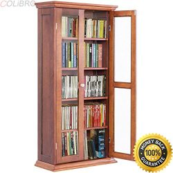 COLIBROX-44.5″ Wood Media Storage Cabinet CD DVD Shelves Tower Glass Doors Walnut. solid w ...
