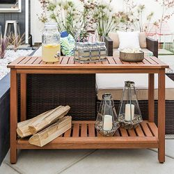 Best Choice Products 48in 2-Shelf Indoor Outdoor Multifunctional Eucalyptus Wood Buffet Bar Stor ...