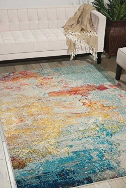 Nourison Celestial Modern Watercolor Area Rug, 6'7″ x 9'7″, Multicolor Grey