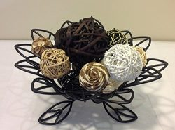 Jodhpuri Inc. Decorative Spheres (Black) Rattan Vase Filler Assorted Natural Woven Twig Balls