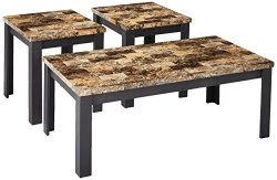 Acme Furniture 80320 3 Piece Finely Coffee/End Table Set, Dark Brown Faux Marble & Black