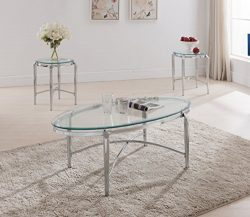 Kings Brand Furniture 3 Piece Glass Top Coffee Table & 2 End Tables Occasional Set, Chrome