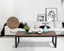 Vintage Dark Coffee Black Metal Frame Cocktail Coffee Table 44″ Wide