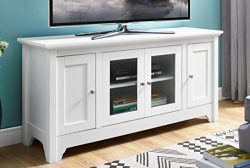 WE Furniture 52″ Wood TV Media Stand Storage Console – White